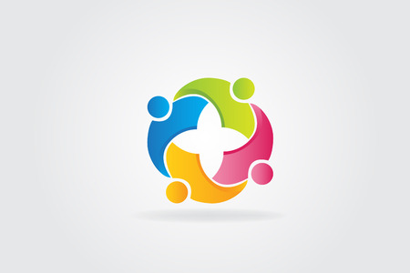 Logo teamwork unity embraced people vector icon design Illustration