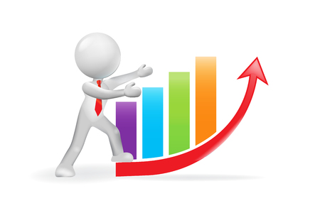 3D man and growing business bar graph chart Illustration
