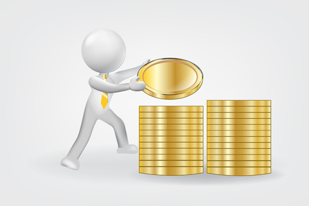 3d man small People counting coins money. Financial Success  logo vector