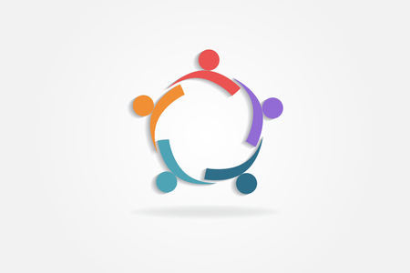 Logo teamwork partners business people vector design Vettoriali