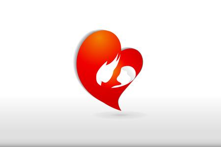 Love heart family symbol logo vector