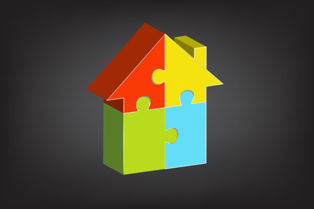 Puzzle house real estate symbol logo