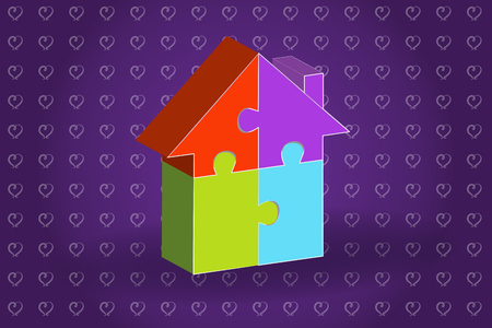 Puzzle house real estate business symbol logo