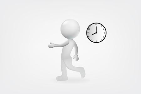 3d white man late to work design vector logo