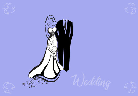 Bride and groom wedding couple silhouette stock photos Stock Illustratie
