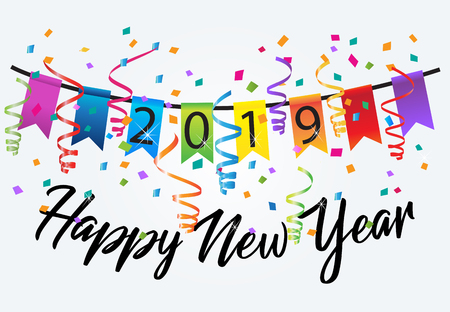 2019 happy new year colorful confetti background
