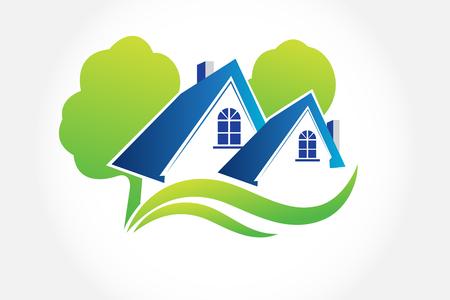 Domy i drzewa logo nieruchomości wektor