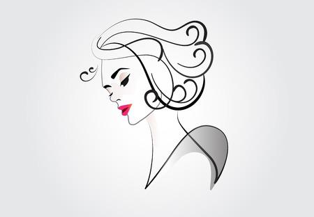Visage de logo de silhouette de jolie femme
