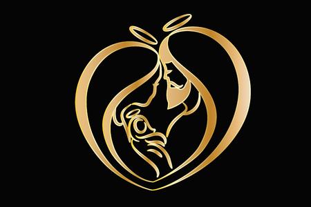 Holy family gold vector logo