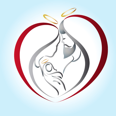 Family in a heart shape stylized sketch icon vector logo Illustration