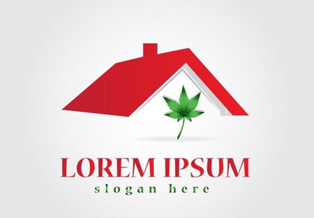 House and cannabis leaf logo vector design