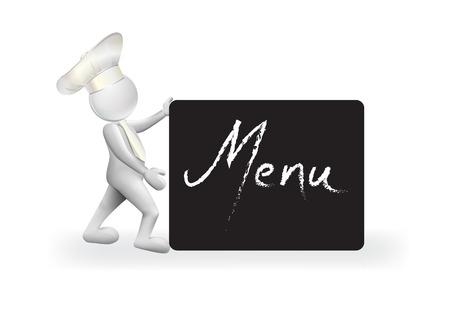 Chef with a menu sign logo vector Logo