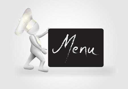 Chef with a menu sign logo vector
