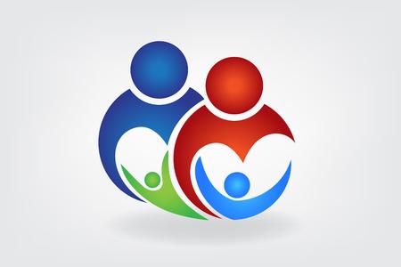 Happy family logo Illustration