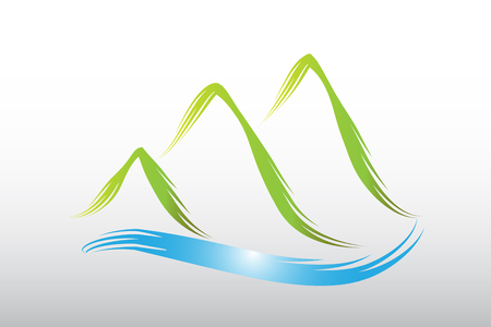 Logo green mountains icon vector design Illustration