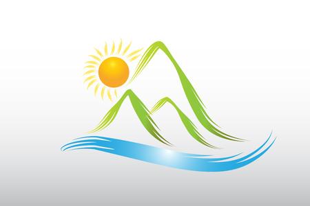 Logo sun and green mountains icon vector design