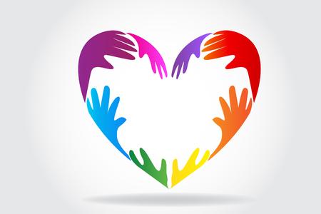 Hände, die einen bunten Herzlogovektor machen Logo