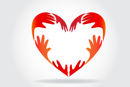 Hands making a heart logo vector