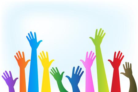 Image vectorielle de mains logo coloré