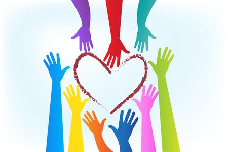Mains autour d'une image vectorielle logo coeur