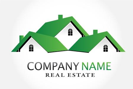 Maisons vertes vecteur de logo immobilier