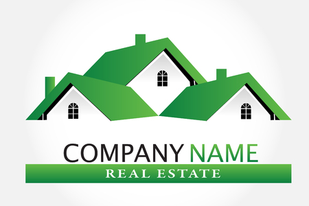 Green houses real estate logo vector