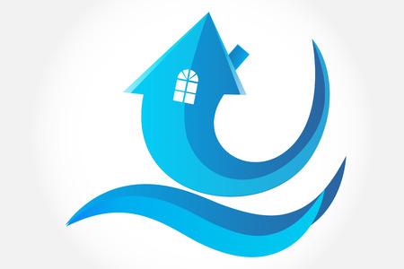 Logo house arrow symbol vector