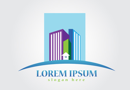 Modern buildings houses real estate logo design Illustration
