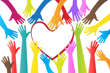 Hands around a heart logo vector design image template