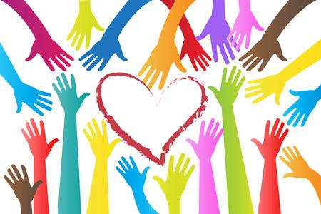Handen rond een hart logo vector ontwerp afbeelding sjabloon Logo