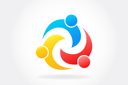 Gente de trabajo en equipo de logotipo en una plantilla de imagen de vector de icono de abrazo Logos