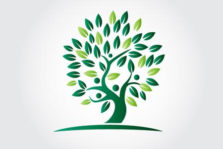 Logo tree ecology and people figures c Illustration