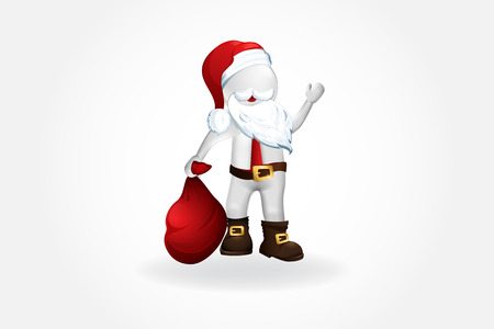 Christmas Santa Claus -3D small people design Stock Illustratie