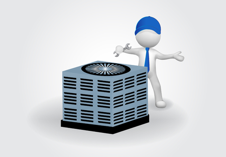 3d Small People fixing an air conditioning. Maintenance concept Stock Illustratie