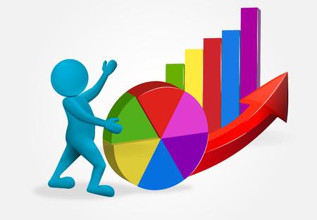 homme 3d avec l'icône de ventes de croissance de statistiques de graphique d'affaires