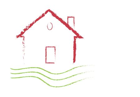 Grunge house illustration design Illustration