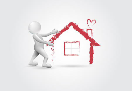 Real estate -3d white people vector graphic design Çizim