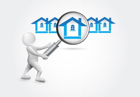 Searching a house -3d small people vector image design Ilustração Vetorial