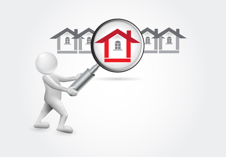Searching a house -3d small people vector image design Stock Illustratie