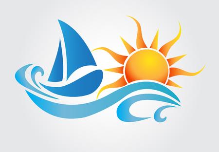 Sun and waves boat vector design Ilustracje wektorowe