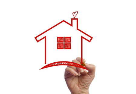 Hand drawing a warm love house photo image picture Stock Photo