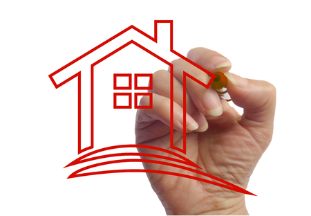 Hand drawing a house photo image picture template Imagens