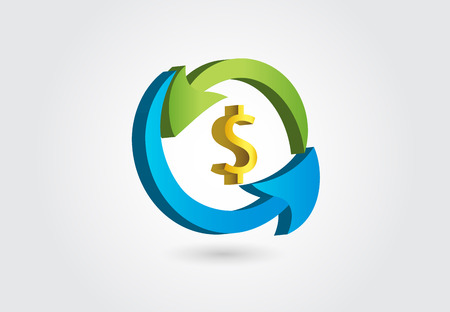 Arrows in a loop around dollar money symbol concept of finance modern icon design web template