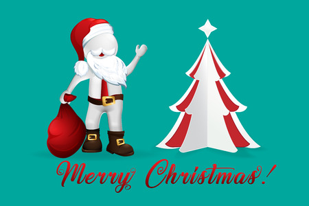 Christmas Tree Santa Claus -3D small people vector design Stock Illustratie