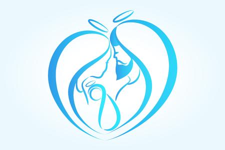 Family in a heart shape stylized sketch icon vector logo Vettoriali