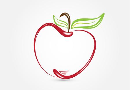 Logo stylizowane jabłko edukacja symbol wektor wzór