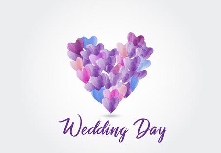 Watercolor love hearts symbol logo vector