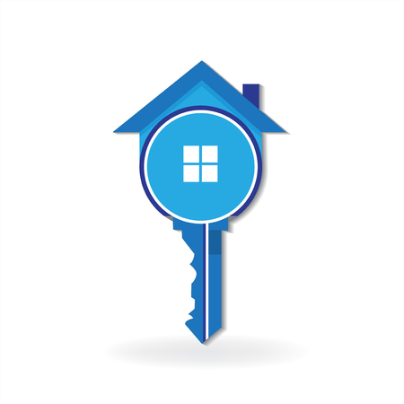 House key real estate symbol logo vector image Foto de archivo - 114970129