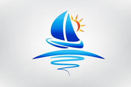 Boat Waves And Sun Logo Vector Illustration Graphic Design Ilustracja