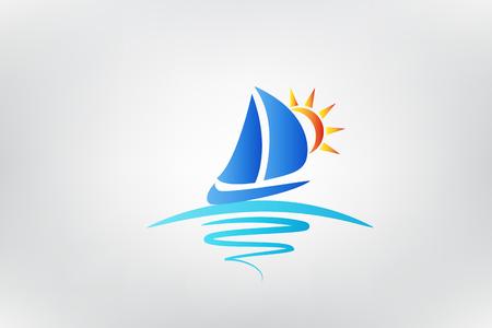 Barco olas y sol logo ilustración vectorial Diseño Gráfico